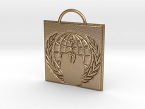 Anonymous logo keychain in Polished Gold Steel