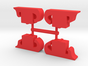 Ancient Galley Warship Meeple, 4-set in Red Processed Versatile Plastic