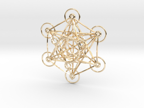 Metatron's Cube - 8cm - wStand in 14k Gold Plated Brass