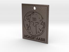 Molon Labe Spartan III% Pendant in Polished Bronzed Silver Steel