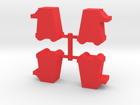 Siege Tower Meeple, 4-set in Red Processed Versatile Plastic