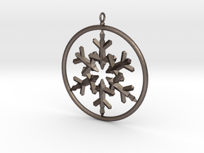 Flake Ring 6 Point Pendant - 6cm - w Loopet in Polished Bronzed Silver Steel