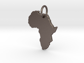 Africa country map Pendant  in Polished Bronzed Silver Steel
