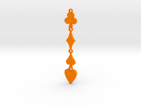 Card Suits Pendant in Orange Processed Versatile Plastic