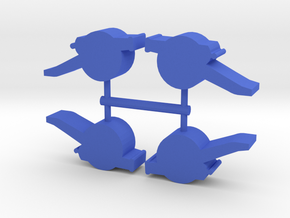 Field Cannon Meeple, 4-set in Blue Processed Versatile Plastic