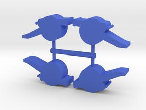 Field Cannon Meeple, 4-set in Blue Processed Versatile Plastic