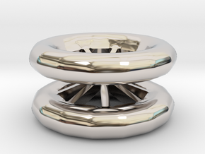 Double Wheel Export 3 in Rhodium Plated Brass