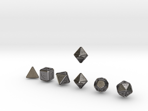 FUTURISTIC INNIE inverse bevels dice in Polished Nickel Steel