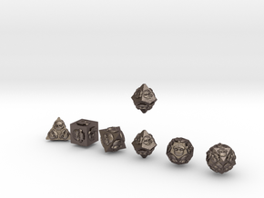 NECRON Outie Sharp skull dice in Polished Bronzed Silver Steel