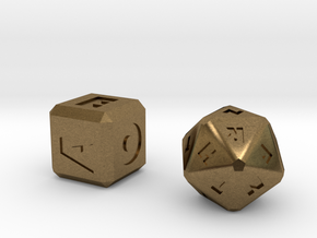 FUTURISTIC Roman Letter Dice in Natural Bronze