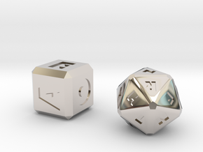FUTURISTIC Roman Letter Dice in Rhodium Plated Brass