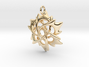 6 Flame Petals - 2.5cm - wLoopet in 14K Yellow Gold