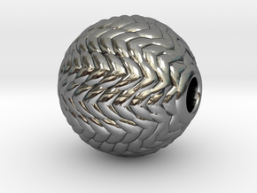 V Ball Pendant 9 mm O.D. in Fine Detail Polished Silver