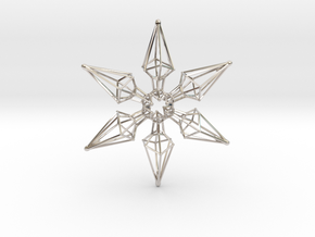 6 Point Ninja Star - 7cm in Rhodium Plated Brass