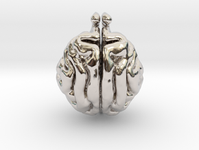 Cat Brain in Rhodium Plated Brass