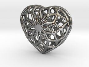Valentine Heart - small in Fine Detail Polished Silver