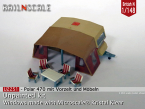 Polar 470 Caravan with tent (British N 1:148) in Frosted Ultra Detail