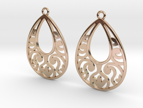 Teardrop Filigree Earrings in 14k Rose Gold Plated Brass