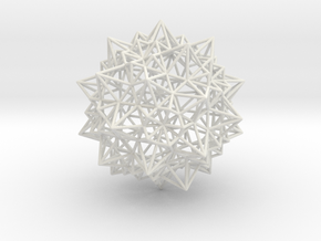 Stellated Icosidodecahedron - Wireframe in White Natural Versatile Plastic