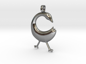 SANKOFA Symbol Jewelry Pendant in Fine Detail Polished Silver