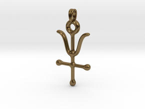 ANTIMONY Symbol Jewelry Pendant in Polished Bronze