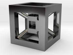 4D Cube(Tesseract) 12.5mm in Fine Detail Polished Silver