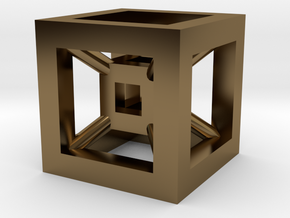 4D Cube(Tesseract) 12.5mm in Polished Bronze