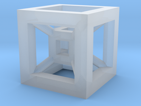 4D Cube(Tesseract) 12.5mm in Smooth Fine Detail Plastic