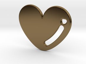 Love Heart Pendant in Polished Bronze