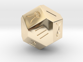 Liubo 14 Sided Dice in 14K Yellow Gold