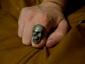The Original Skull Ring in Polished Bronzed Silver Steel