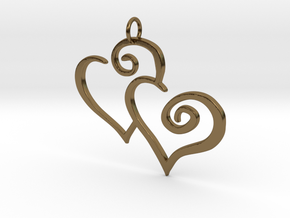 2-Heart Charm Pendant in Polished Bronze