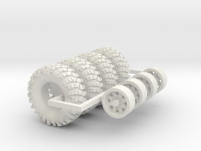 1/64 Crawler Tires with wheels in White Natural Versatile Plastic
