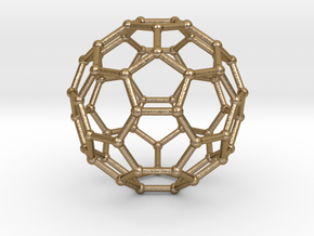 0369 Truncated Icosahedron V&E (a=1cm) #002 in Polished Gold Steel