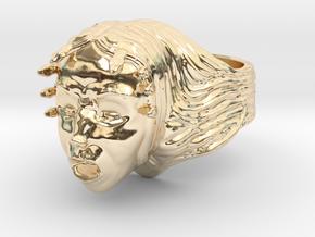Woman/Medusa Mythology screaming custom ring  in 14k Gold Plated Brass
