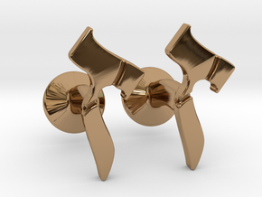 Hebrew Monogram Cufflinks - Devorah & Joey in Polished Brass