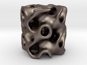 Gyrox Cylinder - 50mm in Polished Bronzed Silver Steel