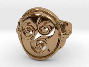 Ring Triskell size US 9 3/4 in Polished Brass