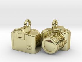 DSLR Camera Earrings / Bracelet Charm in 18k Gold Plated Brass