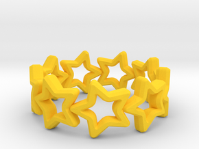 Stars Ring 17 in Yellow Processed Versatile Plastic
