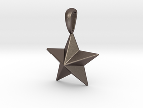 Star Pendant Necklace in Polished Bronzed Silver Steel