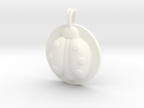 LADYBUG Symbol Jewelry Pendant in White Processed Versatile Plastic