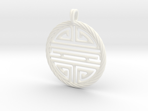 Shou Symbol Jewelry Pendant in White Processed Versatile Plastic