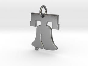 Liberty Bell Pendant Charm in Polished Silver
