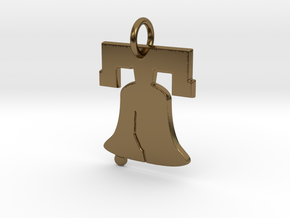 Liberty Bell Pendant Charm in Polished Bronze