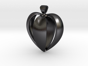 Heart pendant v.1 in Polished and Bronzed Black Steel