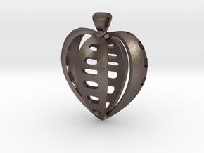 Heart pendant v.2 in Polished Bronzed Silver Steel