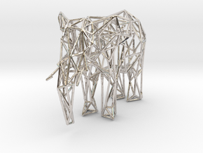 Low Poly Elephant in Rhodium Plated Brass