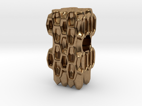 Honeycomb European Charm Bracelet Bead in Natural Brass