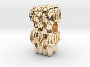Honeycomb European Charm Bracelet Bead in 14k Gold Plated Brass